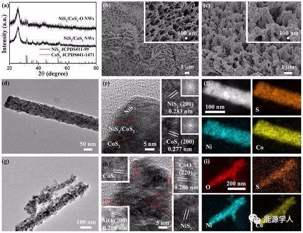 氧空位主导的NiS2/CoS2多孔界面纳米线阵列:便携式锌空电池驱动水分解