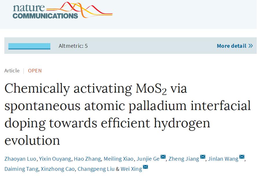 中科院长春应化所Nature Communications:MoS2界面原子钯自发掺杂增强电催化析氢