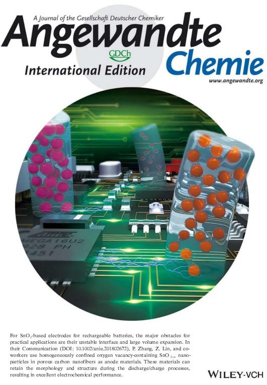 深圳大学Angew. Chem. Int. Ed.封面文章:基于碳纤维/含氧缺陷二氧化锡的高容量长寿命钠离子电池负极材料