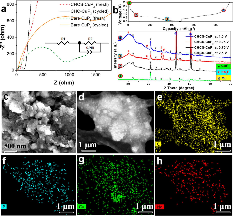 颗粒间铰链的碳包覆CuP2复合材料用于钠电负极