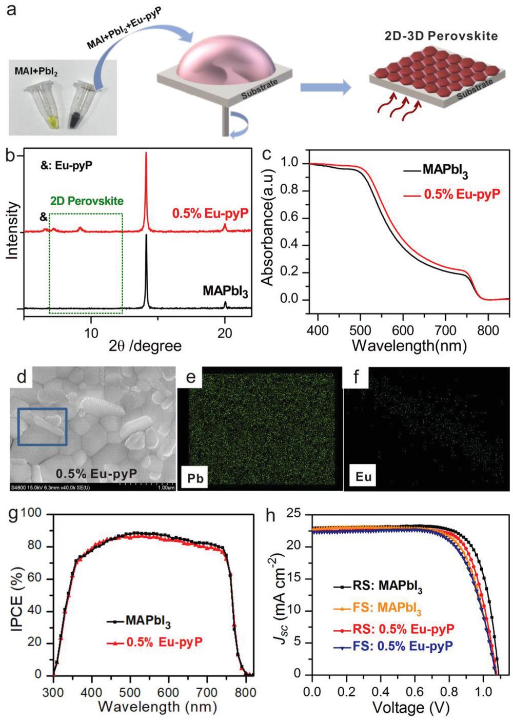 Eu卟啉配合物完美钝化钙钛矿晶界提高钙钛矿太阳能电池的整体稳定性