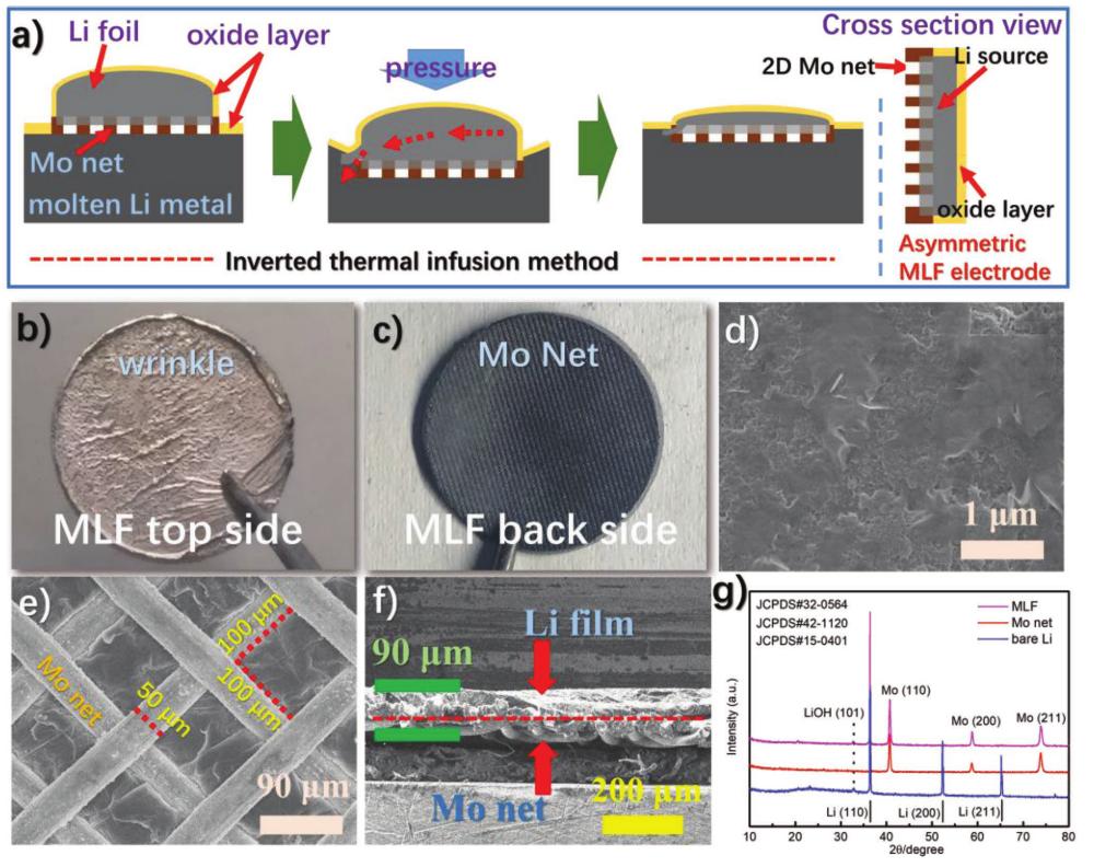 非对称复合金属锂负极设计实现反向锂沉积