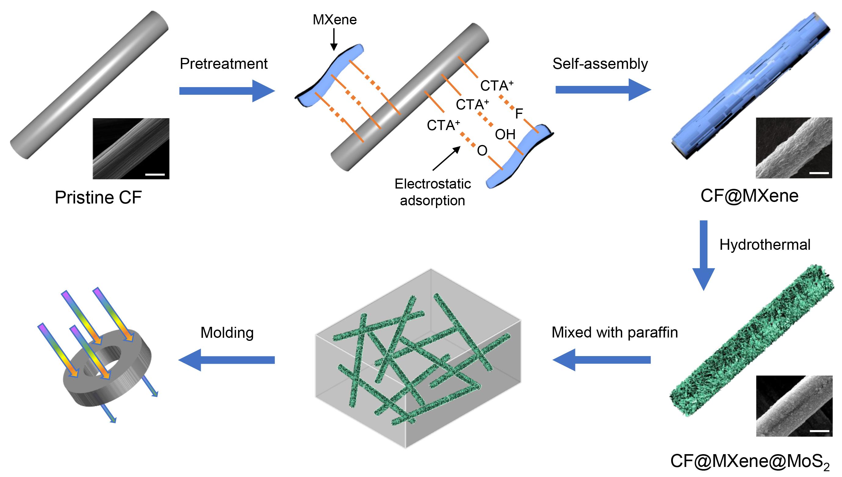 东南大学刘磊教授团队AFM报道高性能吸波材料研究成果:层级Carbon Fiber@MXene@MoS2核-鞘结构实现可调谐和高效吸波