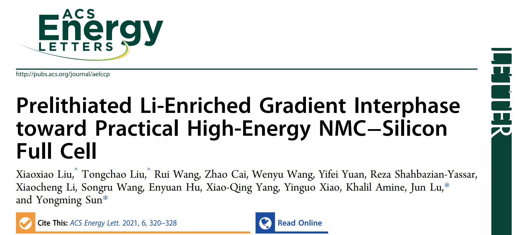ACS Energy Letters: 高镍表面梯度富锂化助力高能量密度NMC-Si全电池