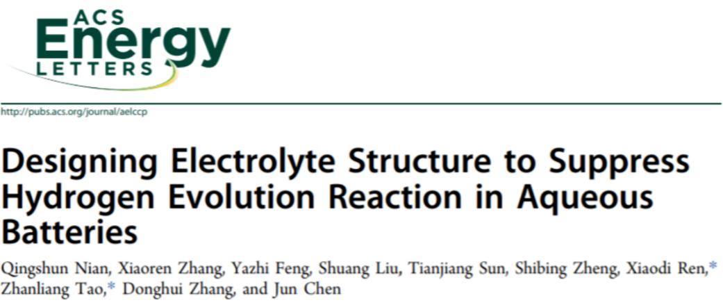 任晓迪教授&陈军院士团队:电解液结构设计来抑制水系电池析氢