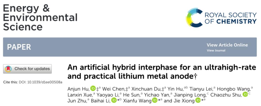 电子科技大学熊杰团队:实用化锂金属负极人工混合SEI的构筑